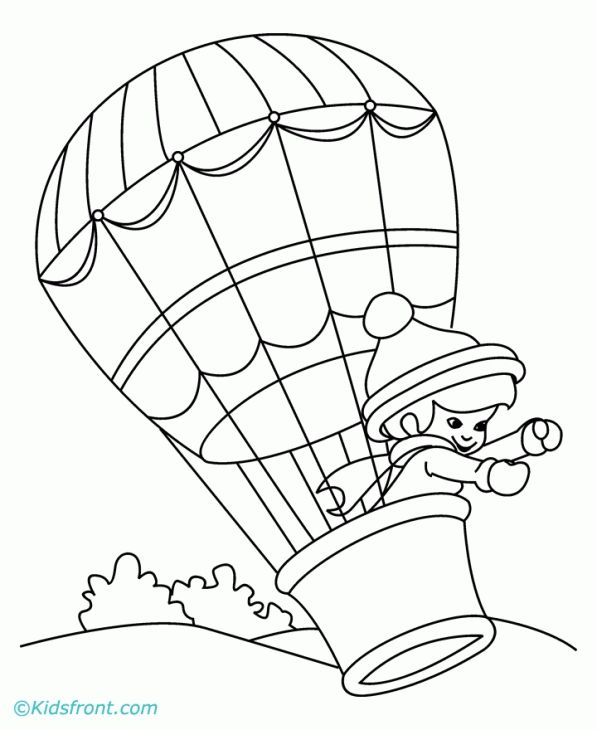 597x730 Hot Air Balloon Coloring Page To Print Transportation Coloring