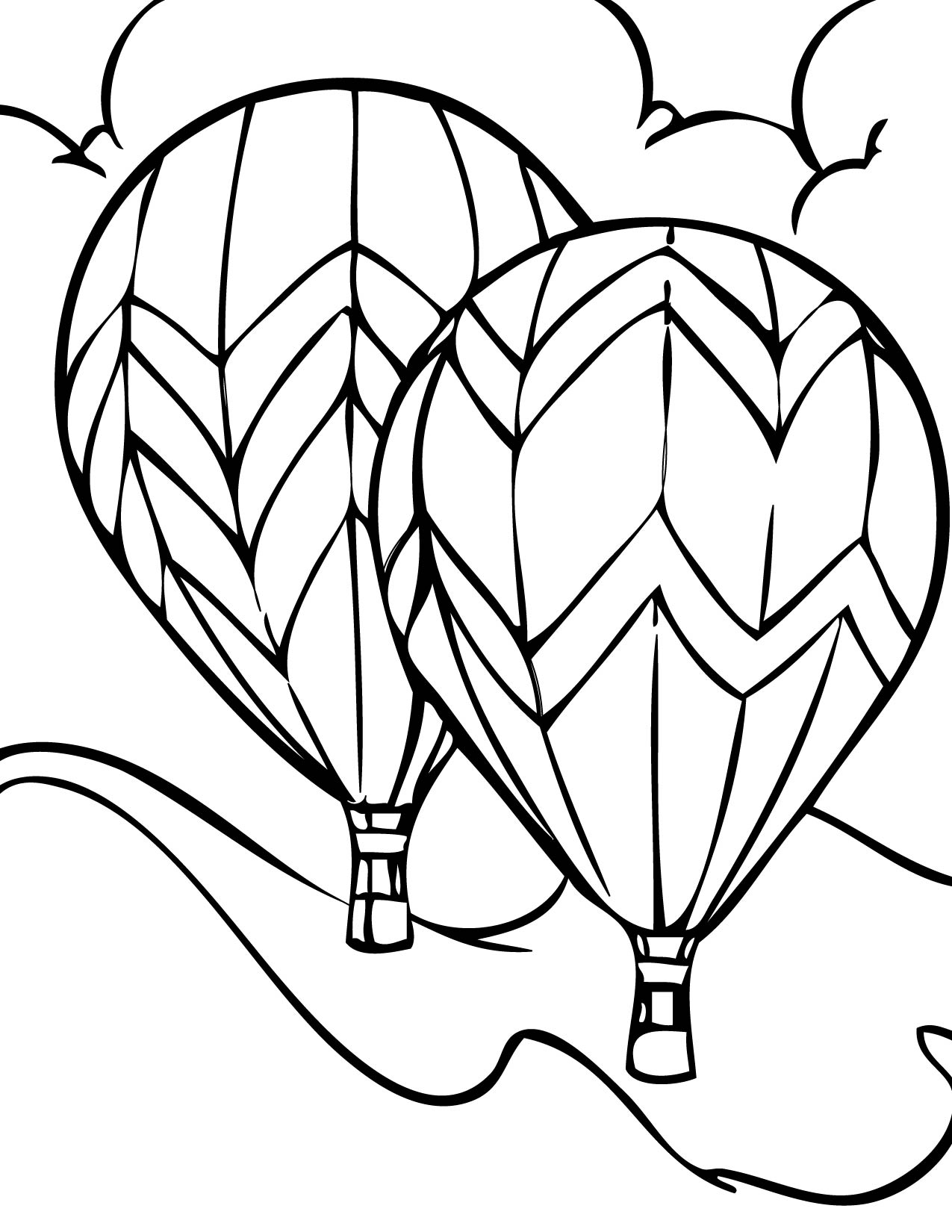1275x1650 Hot Air Balloon Coloring Page