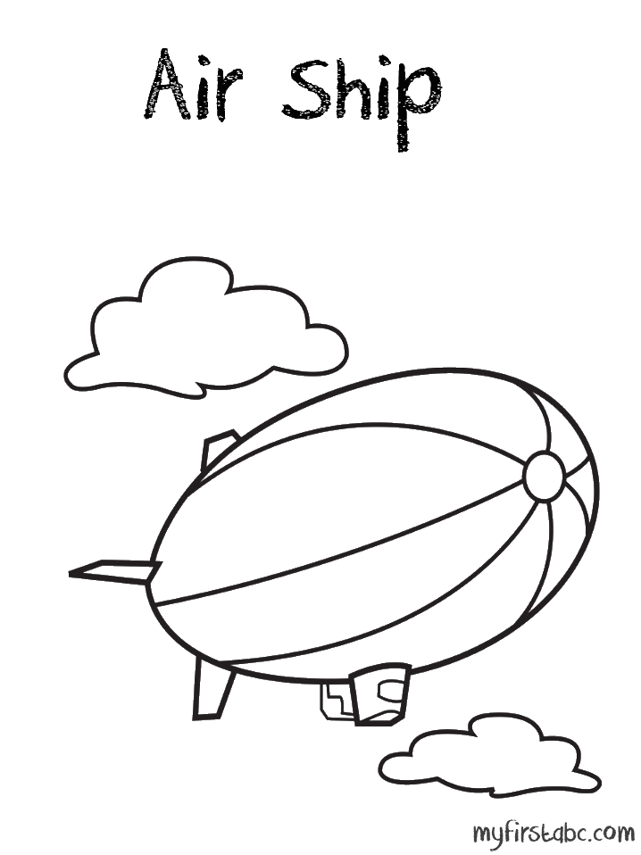 718x958 Air Ship Coloring Page