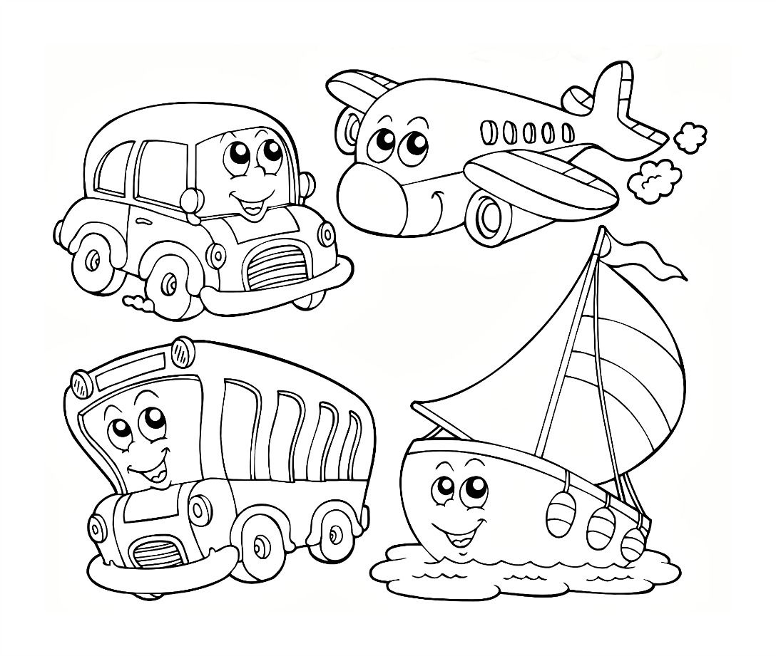 1088x921 Fascinating Transportation Coloring Sheets Means Of Transport Air