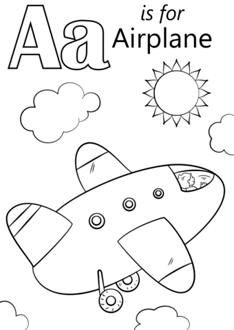 340x480 Airplane Coloring Pages Letter A Is For Airplane Coloring Page