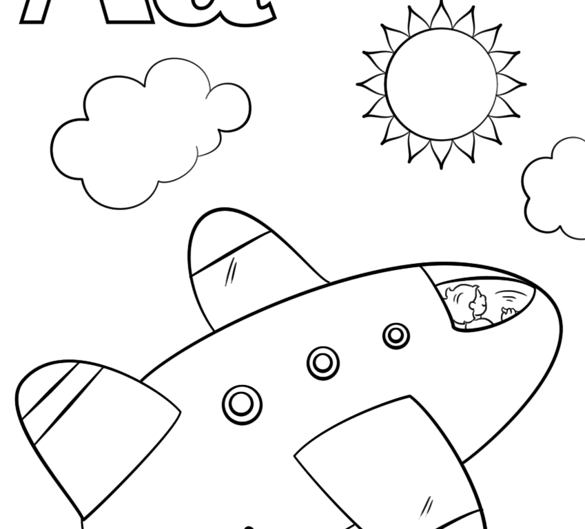 849x768 Coloring Pages Airplane General Free Sheets Of Airplanes Pilot