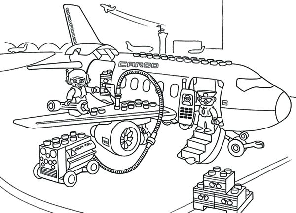 600x431 Lego Airplane Coloring Pages Lego Airport Coloring Page Free