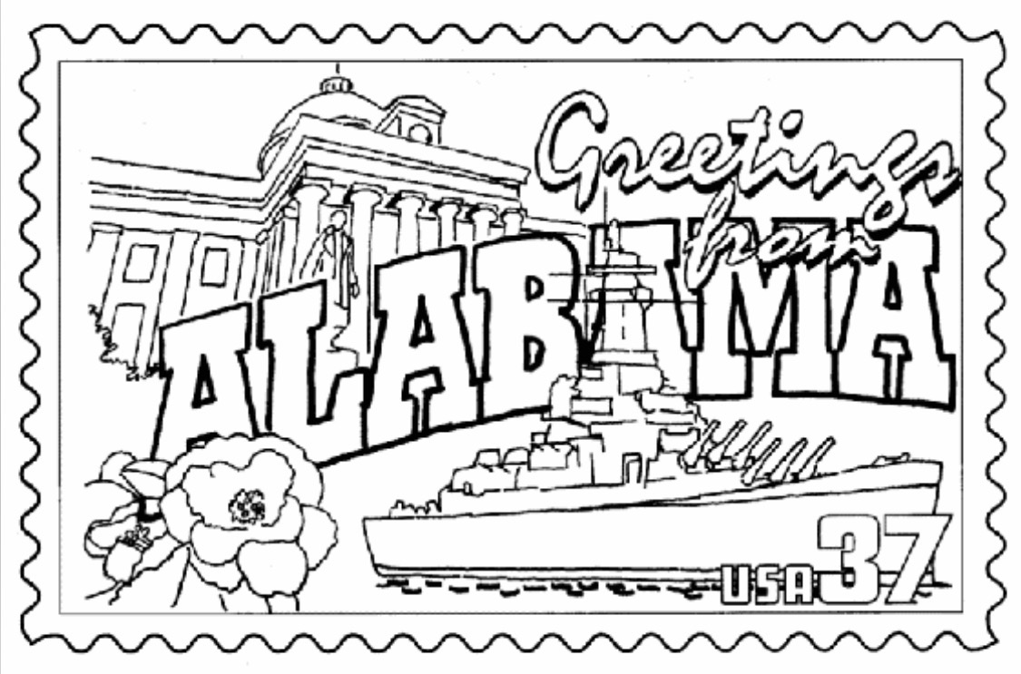1125x743 Alabama Coloring Page States Alabama