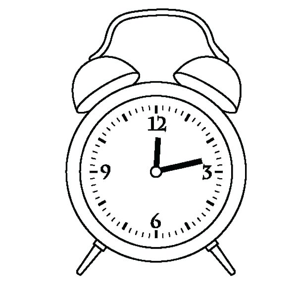 600x600 Alarm Clock Drawing Alarm Clock Twelve Coloring Pages Old Alarm