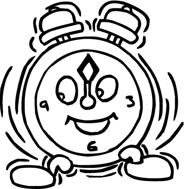 600x619 Alarm Clock Shaking Coloring Pages Best Place To Color