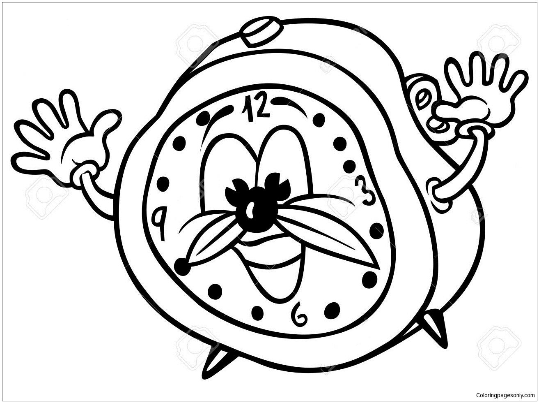 1313x980 Cartoon Alarm Clock Coloring Page