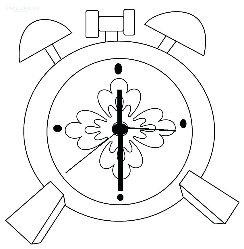 850x869 Clock Coloring Page Alarm Clock Coloring Pages Clock Face