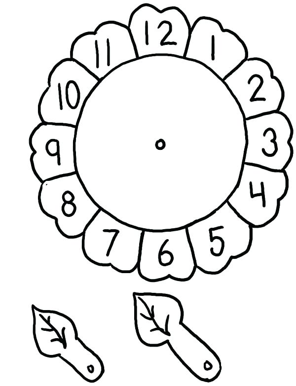 600x783 Clock Coloring Page Clock Coloring Page Sunflower Alarm Clock