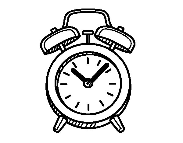 600x470 Old Alarm Clock Coloring Page