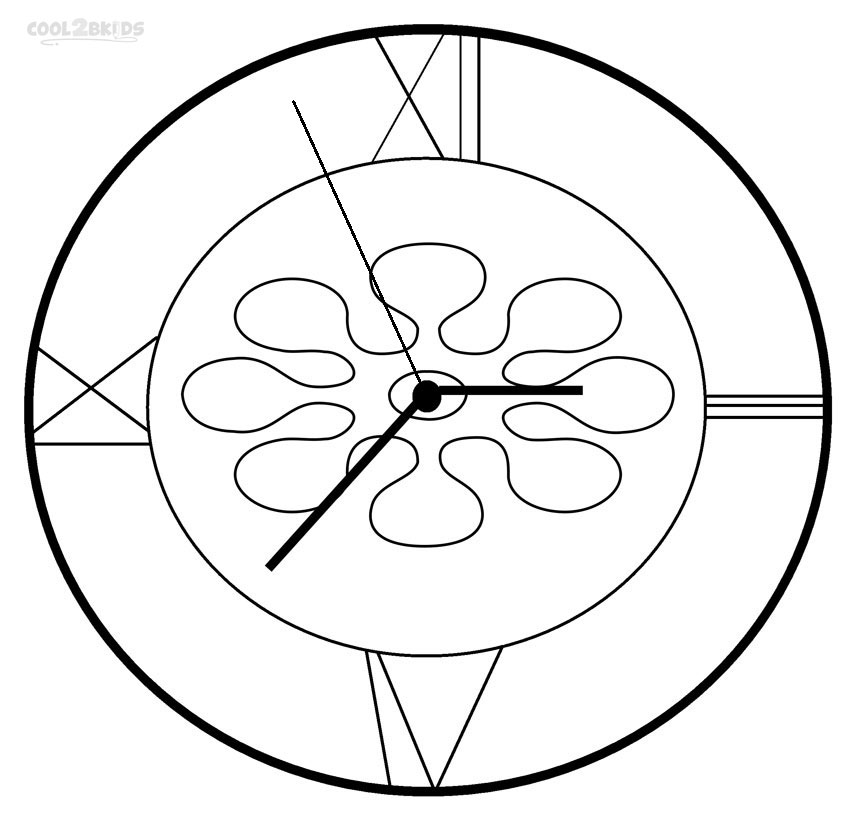850x819 Printable Clock Coloring Pages For Kids