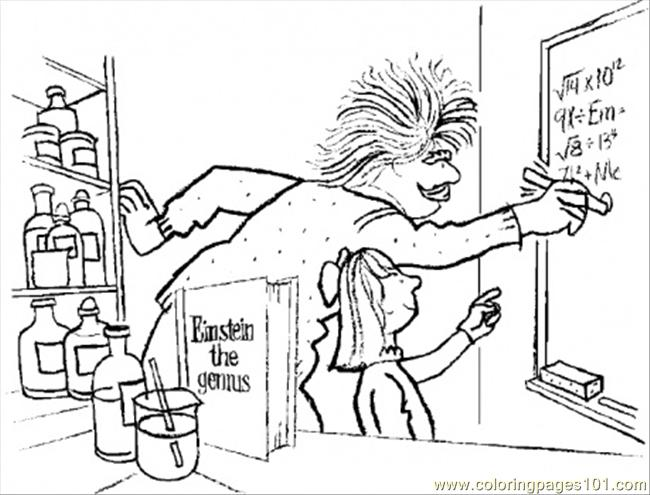 650x495 Albert Einstein The Genuis Coloring Page