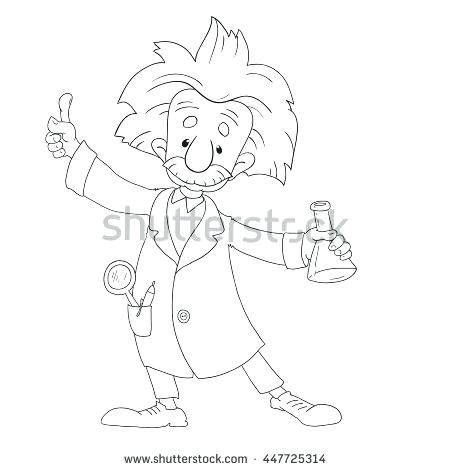 450x470 Albert Einstein Coloring Pages A Vector Illustration Cartoon