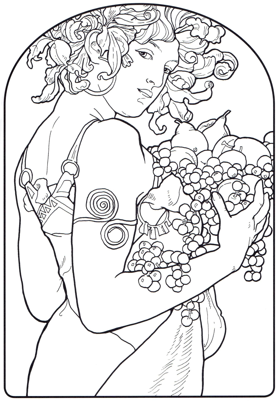 2075x3000 Art Nouveau Coloring Pages Great Art Nouveau Coloring Book