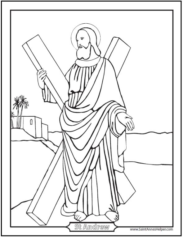 590x762 Saint Andrew The Apostle Prayer, Coloring, Worksheet