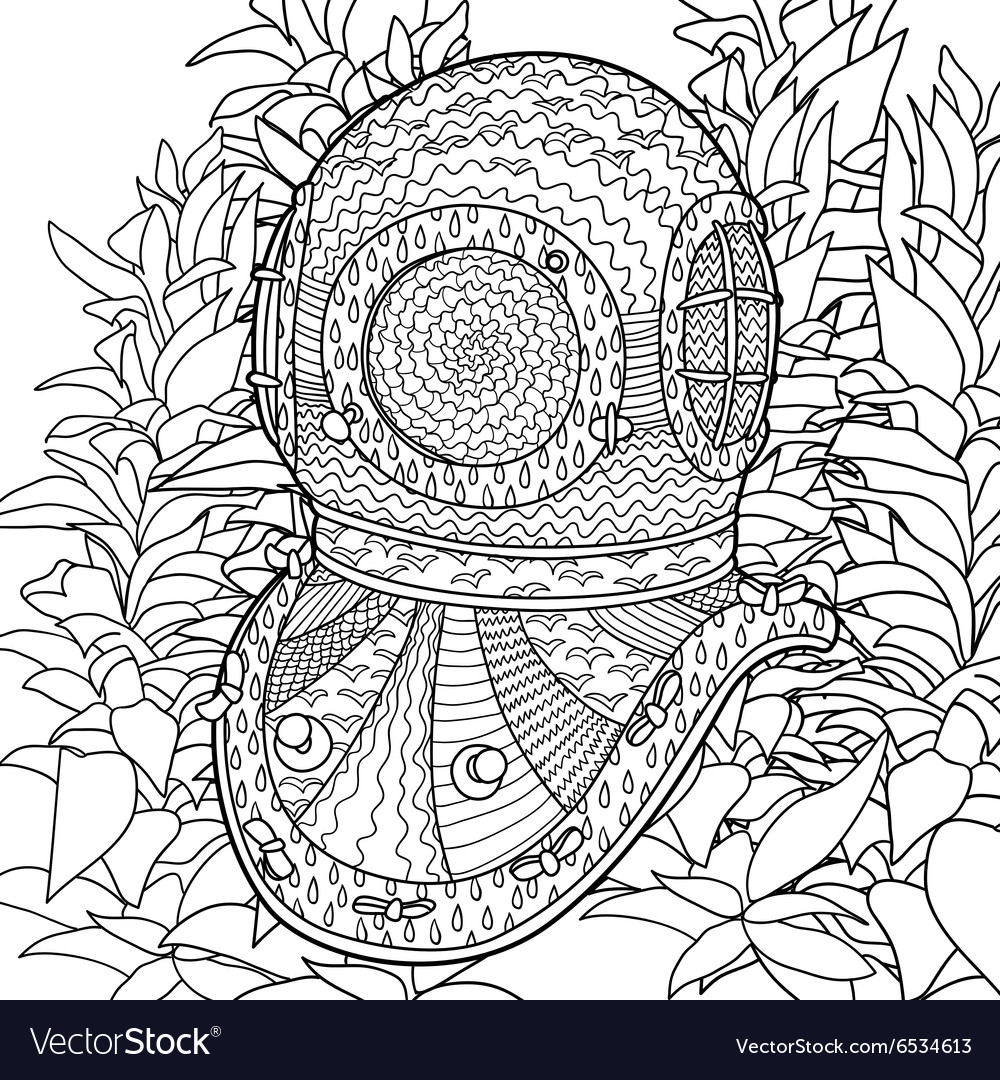 1000x1080 Improved Algae Coloring Pages Divers Helmet In For Adults Vector