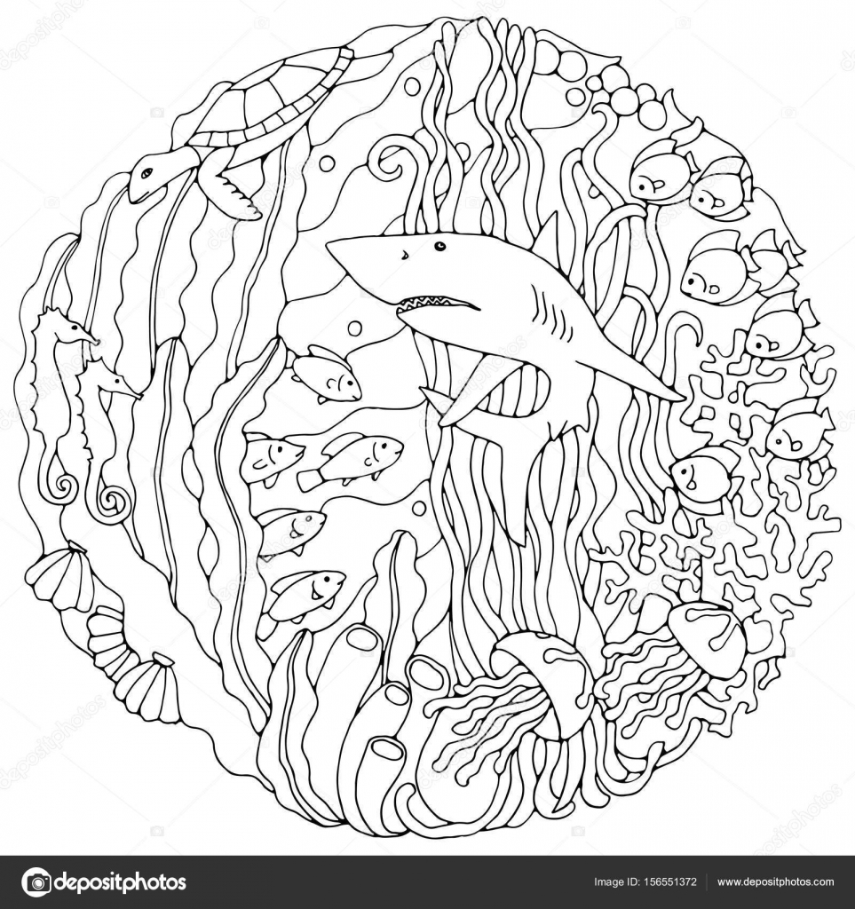963x1024 Mainstream Algae Coloring Pages Decorative Element With A Shark