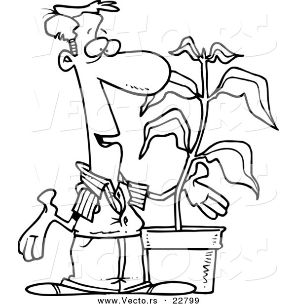 600x620 Vector Of A Cartoon Guy With A Potted Plant