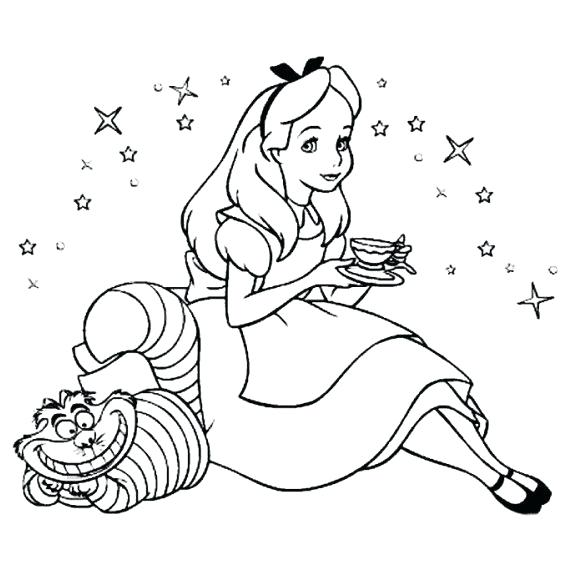 584x573 Drinking Tea With Cat In Wonderland Coloring Pages Drinking Tea