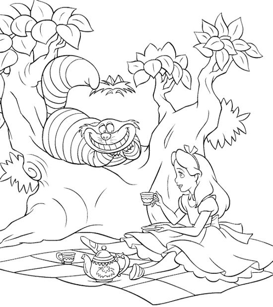 550x619 Alice And The Cat Tea Coloring Pages Alice, Adult