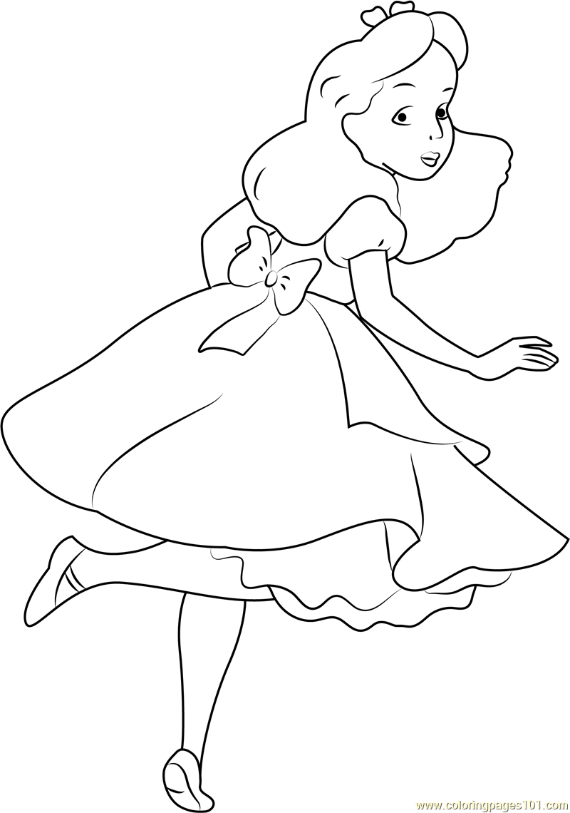 800x1140 Alice Looking Back Coloring Page