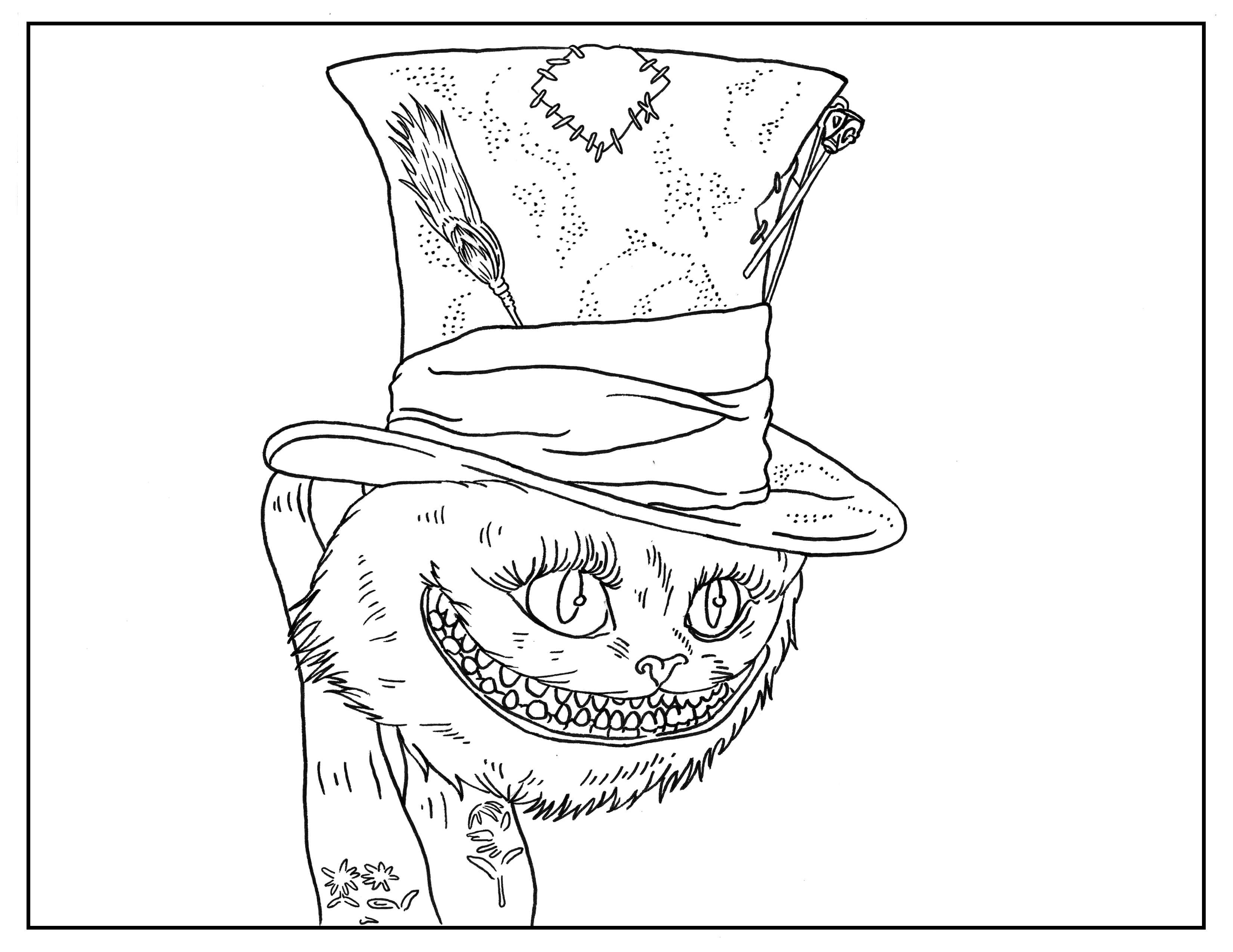 3300x2550 Cheshire Cat With Alice Coloring Page Free Printable Pages Fancy