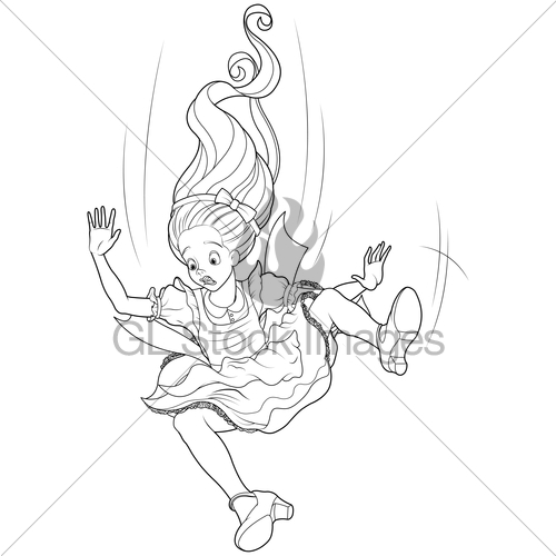 500x500 Falling Alice Coloring Page Gl Stock Images