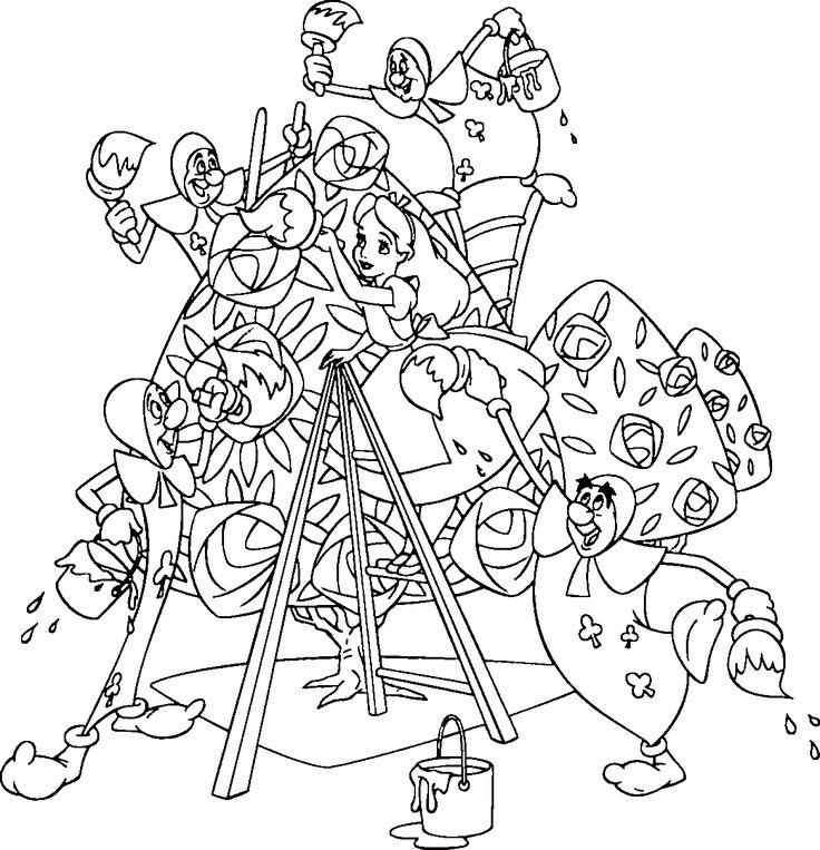 736x763 Alice In Wonderland Coloring Pages