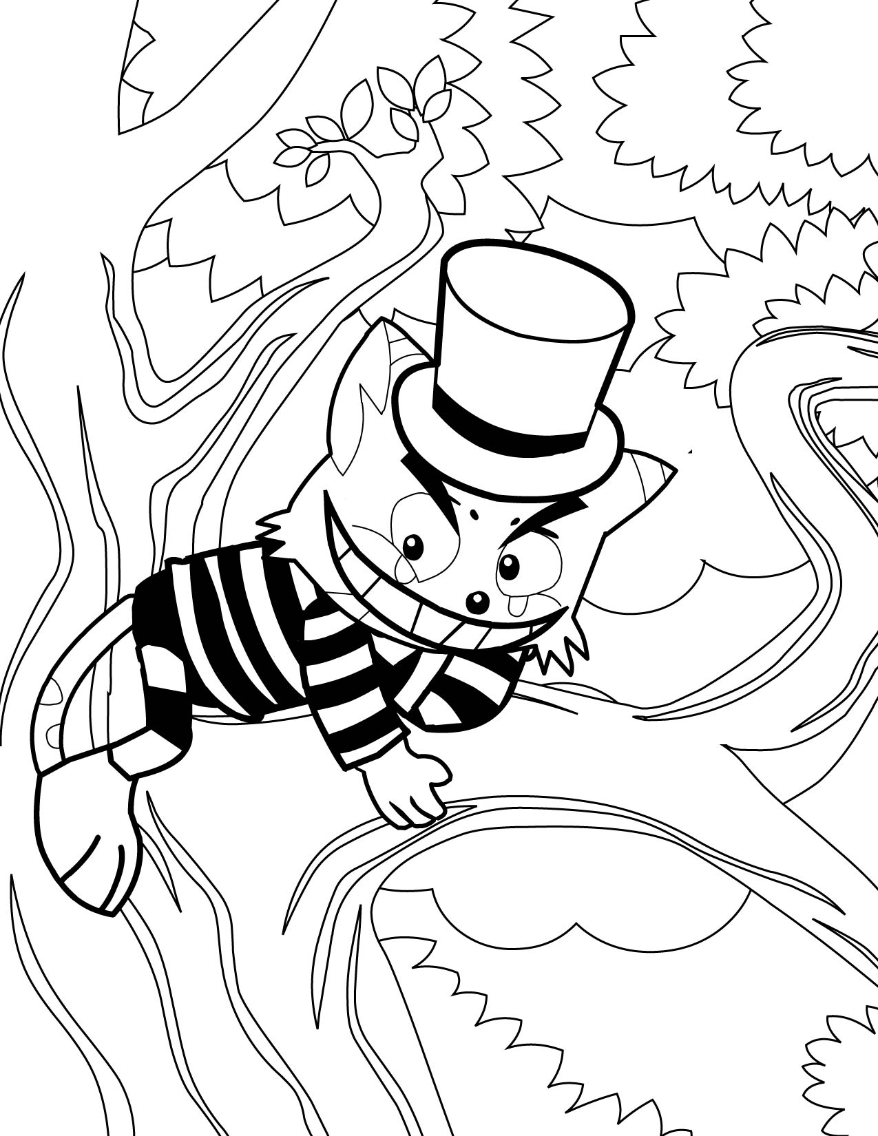 Alice In Wonderland Cat Coloring Pages at GetDrawings.com ...