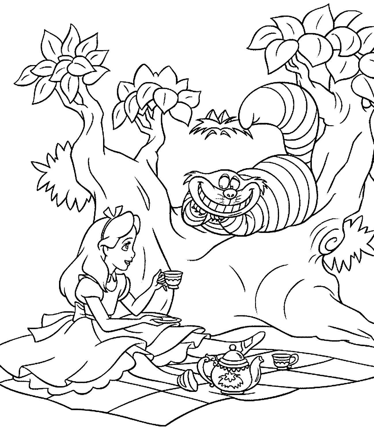 1299x1483 Printable Adult Coloring Pages Alice In Wonderland Cat Free