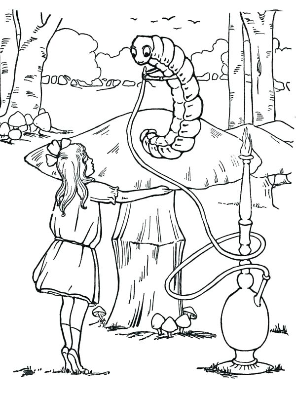 600x800 Alice In Wonderland Characters Coloring Pages Through The Looking