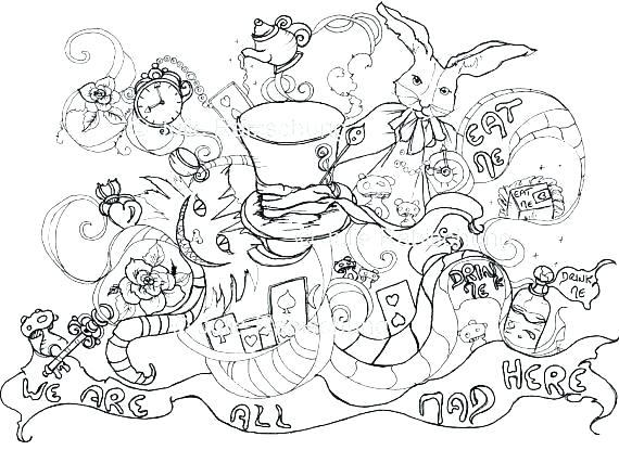570x415 Alice Wonderland Coloring Page Wonderland Coloring Page