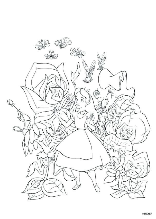 607x850 Alice In Wonderland Caterpillar Coloring Pages In Wonderland