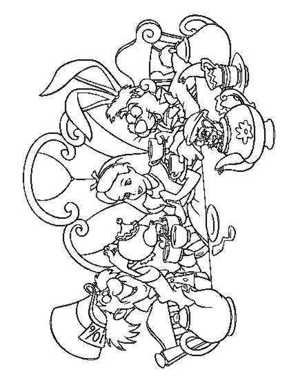 432x555 Alice Tea Party Coloring Page Birthday Ideas Alice