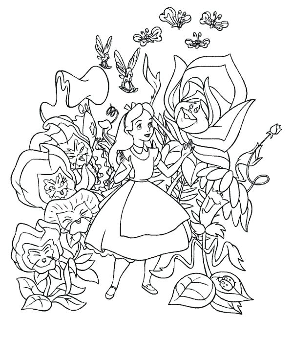 600x695 Coloring Pages Alice In Wonderland Characters Disney Coloring