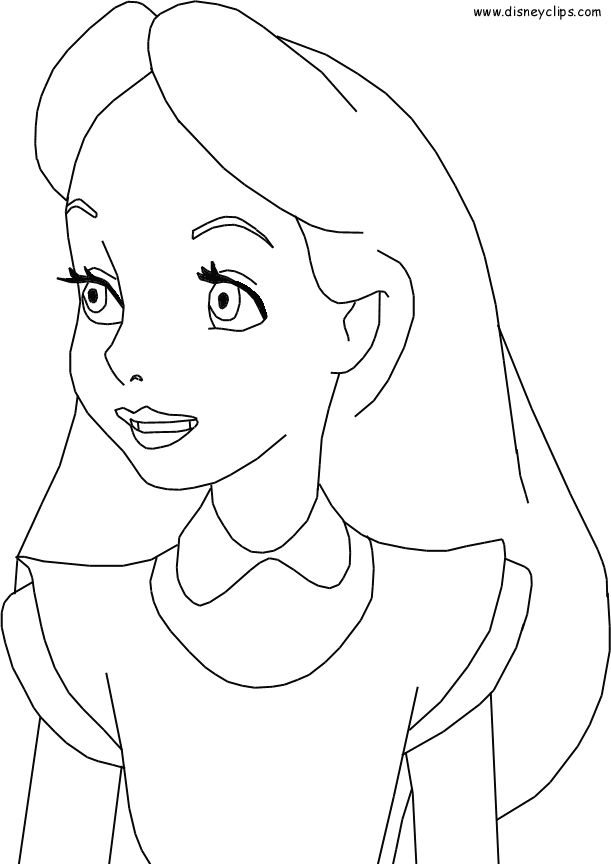611x864 Best Alice In Wonderland Disney Coloring Pages Images