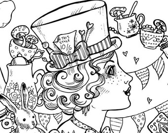 340x270 Alice Wonderland Coloring Pages For Adults Best Alice