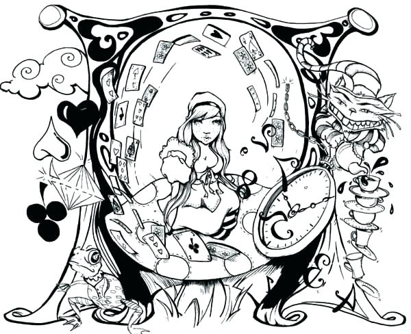 600x488 Alice In Wonderland Coloring Pictures Coloring Pages In Wonderland