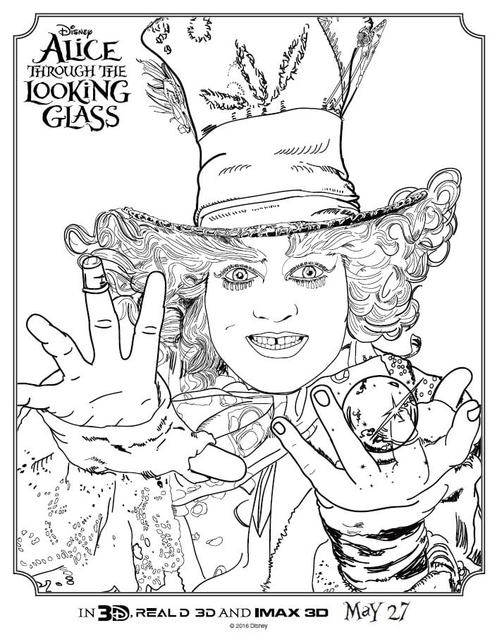 705x909 Alice Through The Looking Glass Coloring Pages