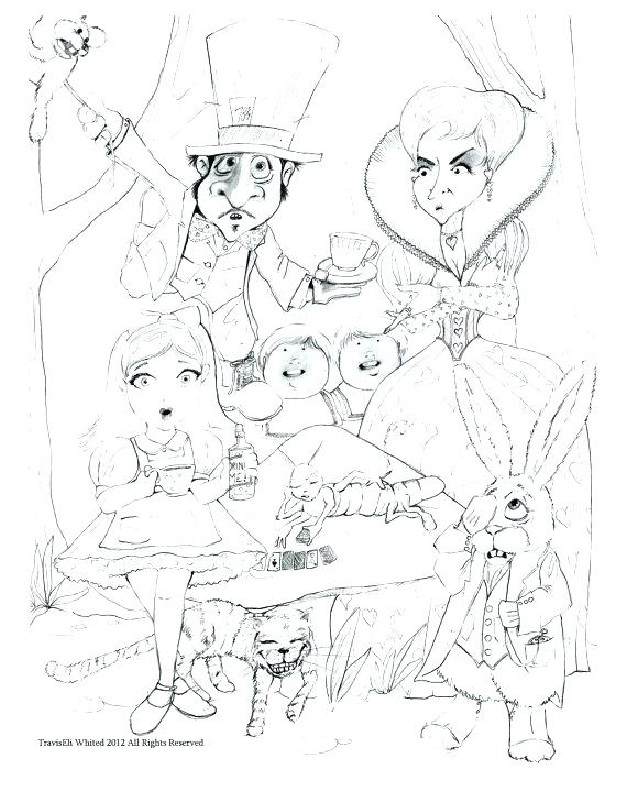 570x719 Coloring Pages Alice In Wonderland In Wonderland Coloring Pages