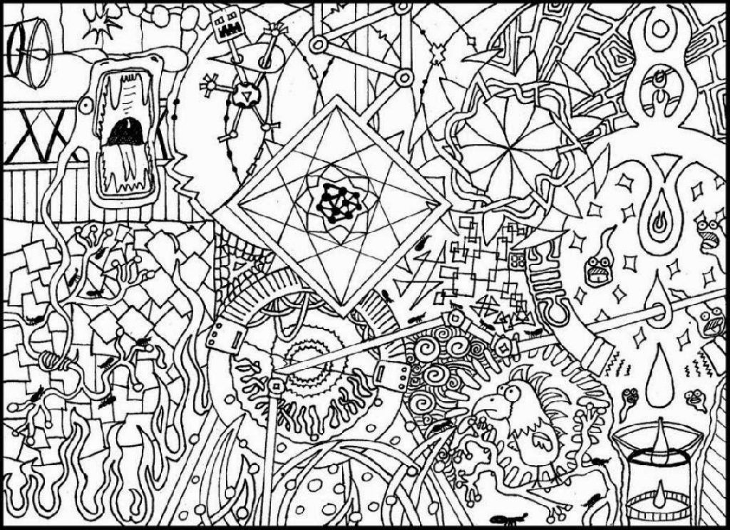 1024x744 Trippy Adult Coloring Pages Free Colouring In Humorous Draw