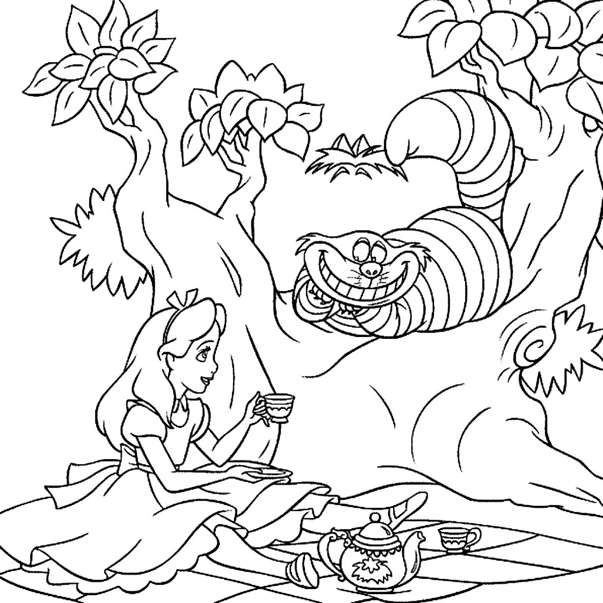 1224x1224 Trippy Alice In Wonderland Coloring Pages Many Interesting General