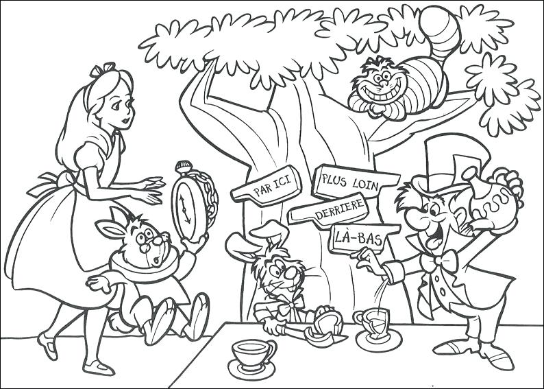794x567 Alice In Wonderland Coloring Pages For Adults Alice In Wonderland