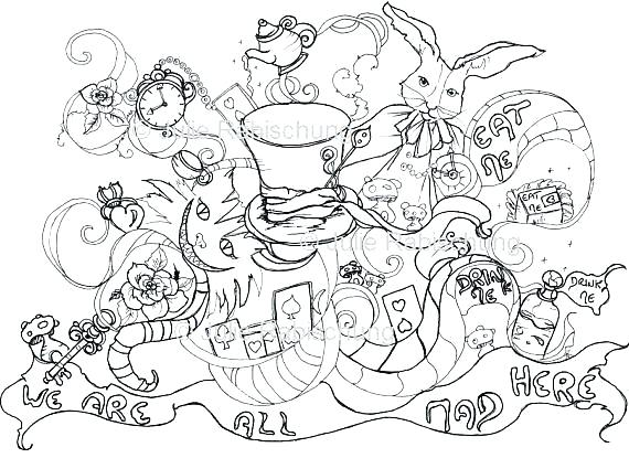 570x415 Alice In Wonderland Coloring Page In Wonderland Coloring Book Also