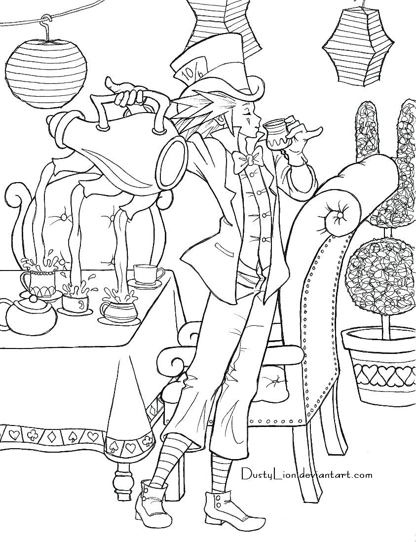 843x1098 Alice In Wonderland Color Pages Disney Coloring Also Mad Hatter