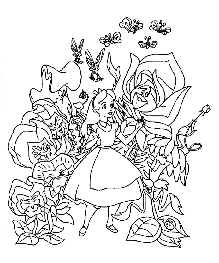 900x1080 Coloring Pages Disney Alice In Wonderland Many Interesting General