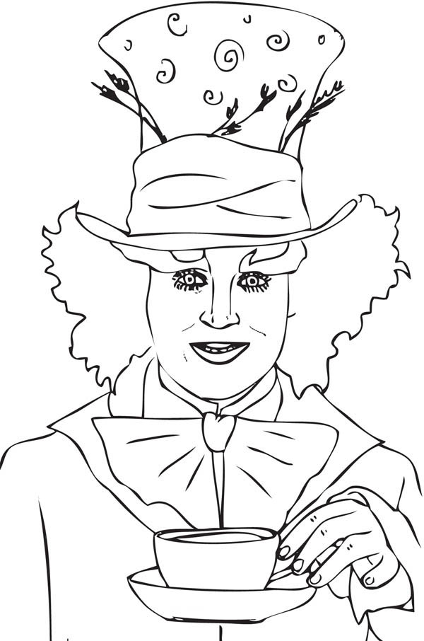 600x906 Johnny Deep Mad Hatter Coloring Page Color Luna