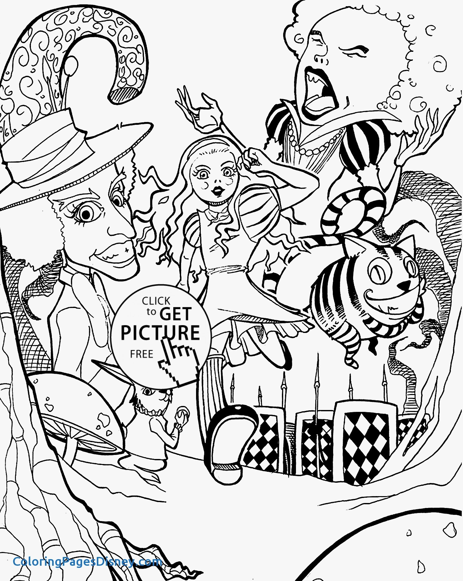 1483x1862 Alice In Wonderland Coloring Pages New Anime Mad Hatter Coloring