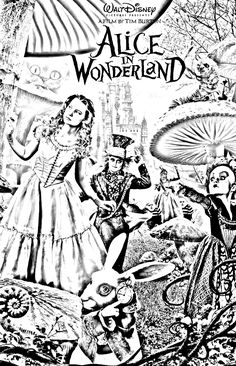 236x366 Tim Burton's Alice In Wonderland Coloring Page We're All Mad