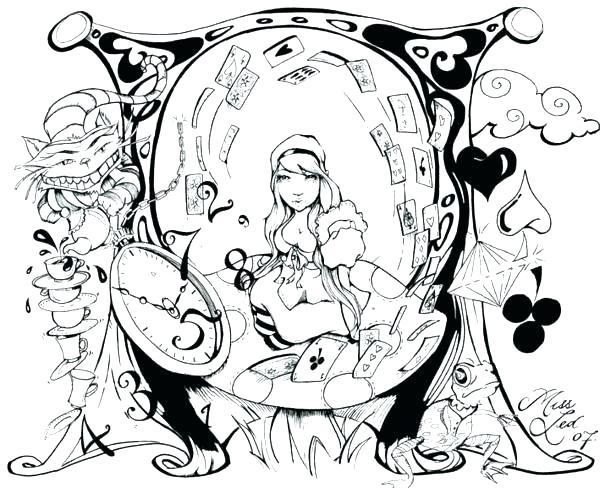 600x488 Tim Burton Coloring Pages Wonderland Coloring Pages Elegant